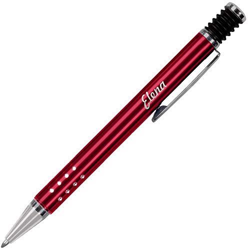 Daytona Bolígrafo para Regalar PERSONALIZADO (Nombre o Texto) · Boligrafos Elegantes con cuerpo Metálico en Rojo y Pulsador de Goma · Boligrafos para Regalar Economicos y Originales