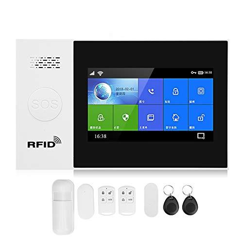 Sistema de alarma de seguridad Pantalla táctil a color de 4,3 pulgadas WiFi+GSM+GPRS Aplicación de alarma antirrobo inalámbrica Control remoto Sistema de seguridad inteligente con detectores(EU)