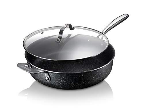 Granitestone Sauté Pan 5.5 Quart Multipurpose Nonstick Jumbo Cooker with Glass Lid Cookware Set, Black