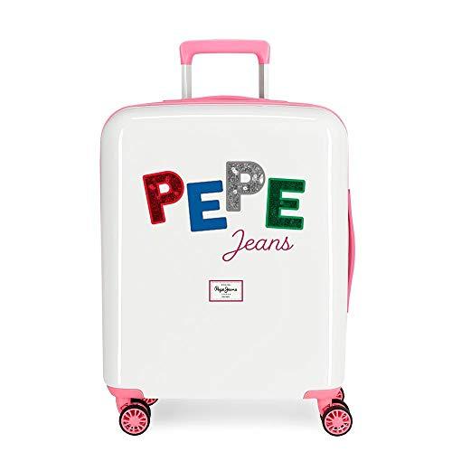 Pepe Jeans Kim Maleta de Cabina Multicolor 40x55x20 cms Rígida ABS Cierre TSA Integrado 38,4L 2 kgs 4 Ruedas Dobles Equipaje de Mano