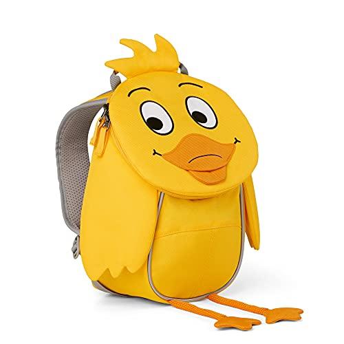 Affenzahn Kleiner Freund Kinderrucksack in Form der Ente aus der Sendung mit der Maus, gelb, reflektierend, ergonomisch, Name auf ausziehbare Zunge, 4 Liter, Größe: 17 x 25 x 11 cm, AFZ-FAS-001-042