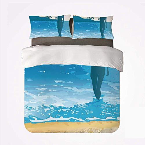 Funda nórdica Set Beach Various 3Bedding Set, Summer Vibes Girl Near The Sea Shore Ocean Palms Waves Sunny Lámina para el hogar
