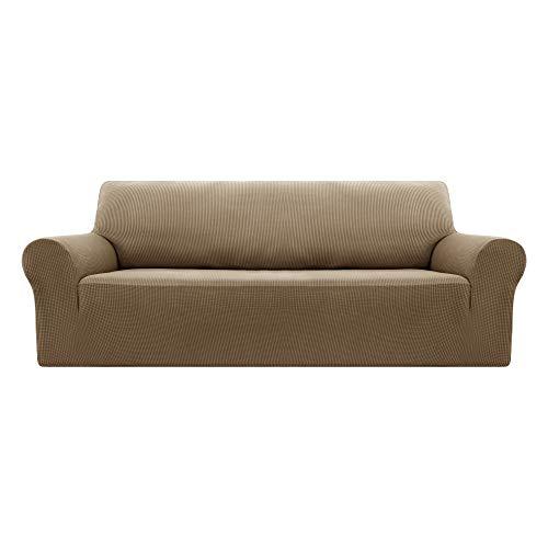 Deconovo Funda Sofá Elástica Prodector de Sofa de Color Liso 4 Plazas Marrón Oscuro