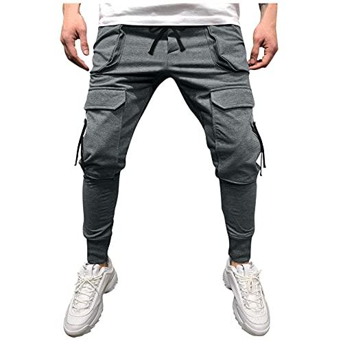 Binggong Pantalones de deporte para hombre con cintura media para cordones, pantalones cargo informales, pantalones de chándal para el tiempo libre, pantalones largos de entrenamiento para fitness