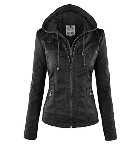NiSeng - Giacca da donna in similpelle PU, giacca da motociclista con cappuccio Nero XXL