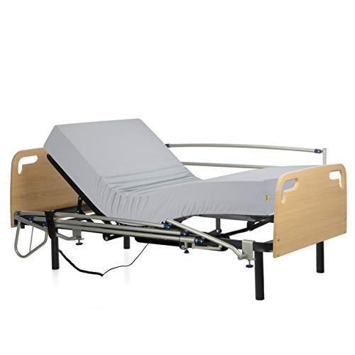 Ferlex - Cama articulada eléctrica geriátrica hospitalaria con Patas fijas | Cabecero y Piecero | Colchón Sanitario viscoelástico | Barandillas abatibles (105x190)