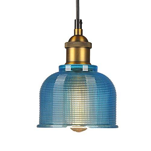 Lámparas de techo con tonos de cristal rojo/azul/naranja/lámpara de techo estilo Edison vintage industrial, pantalla de cristal casquillo E27 (azul)