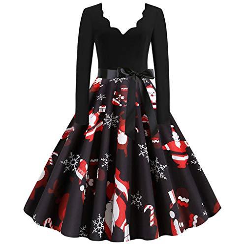 MRULIC Damen Retro Kleider Weihnachten Festkleid Rückenfreies Kleid V-Ausschnitt Wrap Floral Partykleid Frauen Camisole Ärmelloses Kleid Winter Abendkleid
