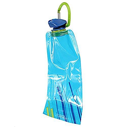 SODIAL(R) Bolsa de Agua 1pzs 700 ML Bolsa de Agua Reutilizable Plegable Botella de Bebida Botella de Bicicleta BPA de Libre Azul