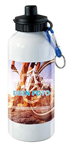 Trinkflasche groß mit eigenem Foto gestalten (Flasche mit individuellem Bild Bedruckt, inkl. Mundstück und Karabiner, Füllmenge: 600 ml, Druckfläche: 8,4 x 12,6 cm) (Groß, Weiß)