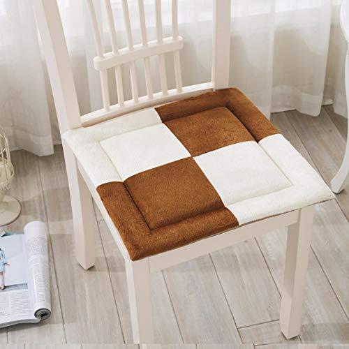 YLCJ Kussen voor bureaustoelen, Student klas mat bank Eettafel stoel pad Kussen dikte Kussen voor schattige winter stoel Kussen voor computer stoel E 45x45cm (18x18inch)