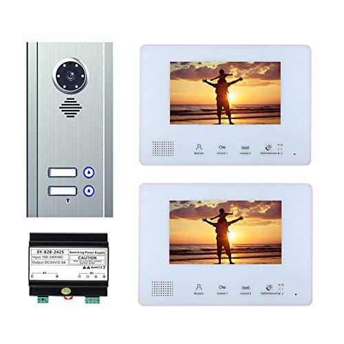 Bus 2 timbre de video de cables, kit de intercomunicador de videoportero para apartamento en casa, cámara de visión nocturna + monitor de 7 pulgadas,2 units