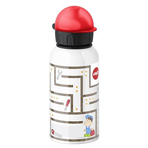 Emsa 514394 Kinder-Trinkflasche, 400 ml, Sicherheits-Verschluss, 100% dicht, Kids Labyrinth Boy