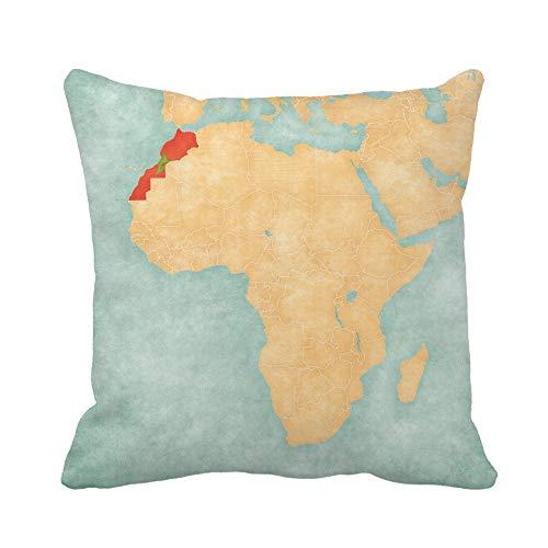 N\A Kissenbezug Marokko Westsahara Marokkanische Flagge Karte von Afrika Der Kissenbezug Home Decorative Square Kissenbezug Kissenbezug