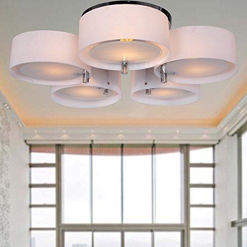 ALFRED Lampadario in acrilico con 5 luci (finitura cromata), montaggio a filo della luce di soffitto Apparecchio per lo studio/ufficio, camera da letto, Soggiorno
