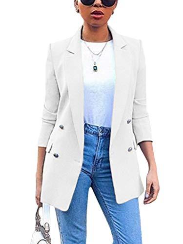 Minetom Damen Cardigan Elegant Blazer Langärmliger Anzugjacke Einfarbig Blazer Business Slim Fit Bolero Jacke Anzug Trenchcoat Weiß 34