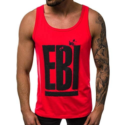 For Sale! XQXCL Men's Cotton EBI Alphabet Printing Vest Solid Color Elastic Sleeveless Round Neck Bl...