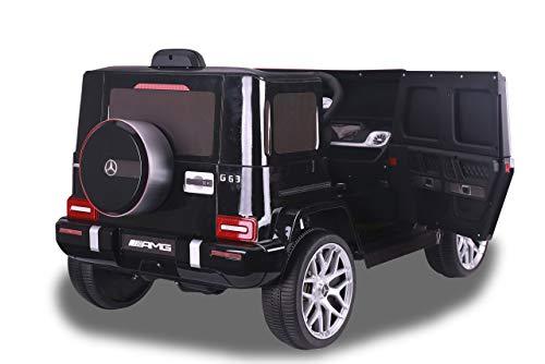 JAMARA 460641 - Ride-on Mercedes-Benz AMG G 63 12V - 2-Gang, 2 leistungsstarke Antriebsmotoren, 12V Akku Lange Fahrzeit, USB, Akkuanzeige, Softanlauf, gefederte Hinterachse, LED, schwarz