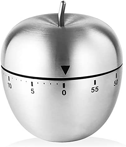 Apple Kitchen Timer Cute Manual Stainless Steel Metal Mechanical Visual Countdown Cooking Timer product image