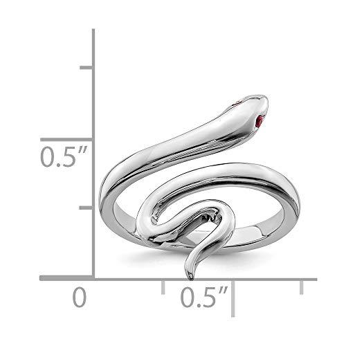 Bague d'orteil réglable en Serpent en argent sterling avec Rubis rouge synthétique - 5