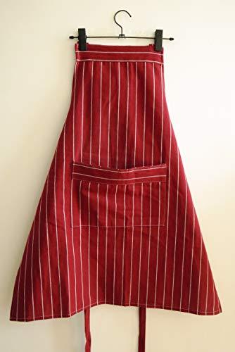 KICCOLY Chefs Schürze Professionelle Qualität Blau & Weiß Metzger Küche Köche Restaurant Bistro BBQ Schule College Doppel Taschen 100% Baumwolle Für Weihnachtsfeier (Rot weiß gestreift)