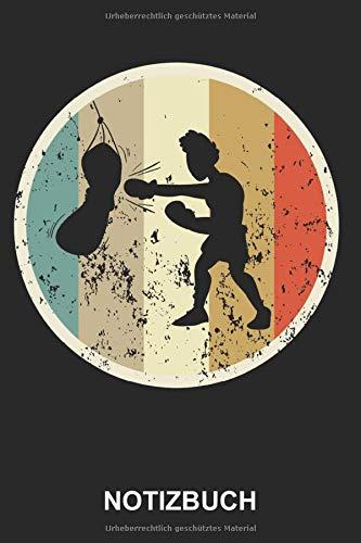Notizbuch: Boxer Boxen Boxsack Boxhandschuhe Kampfsport Boxsport Sport Sportler   Retro Vintage Grunge Style Tagebuch, Notizheft, Schreibheft   ca. A5 mit Linien   120 Seiten liniert   Softcover