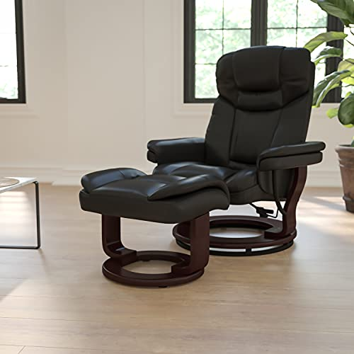 Big Sale Flash Furniture BT-7821-BK-GG Contemporary Black Leather Recliner/Ottoman with Swiveling Mahogany Wood Base