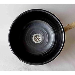 Waschbecken handgefertigt-schwarz-matt Ø 28 cm Höhe 12 cm