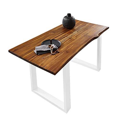 SAM Esszimmertisch 140x80 cm Ida, echte Baumkante, massiver & cognacfarbener Esstisch aus Akazienholz, U-Gestell in Weiß, Baumkantentisch mit 26 mm Platte