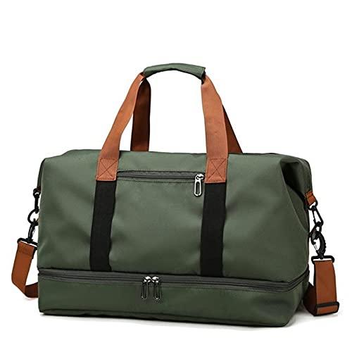 YYDM Bolsa de viaje para mujer, impermeable, de gran capacidad, bolsa de viaje para fin de semana, ligera, bolsa de viaje, color verde