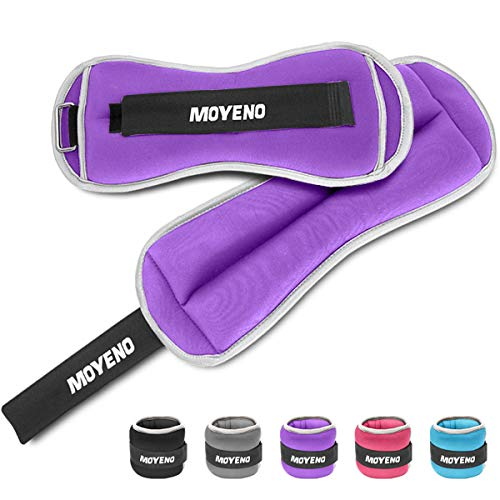 Moyeno 1 Pair 10Lbs Adjustable Ankle Weights for Women Men Kids, Wrist Weights Ankle Weights Sets for Gym, Fitness Workout, Running, Lifting Exercise Leg Weights - Each 5 Lbs Purple