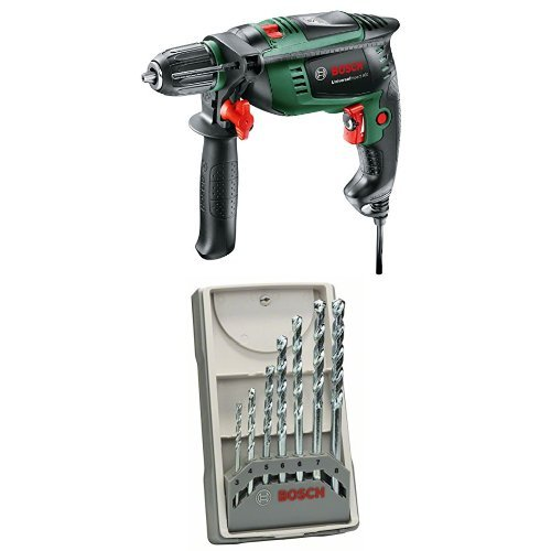 Bosch 603131100 - Taladradora de percusión UniversalImpact 800 + Pack de 7 brocas Bosch para piedra CYL-1 - 3; 4; 5; 6; 6; 7; 8 mm