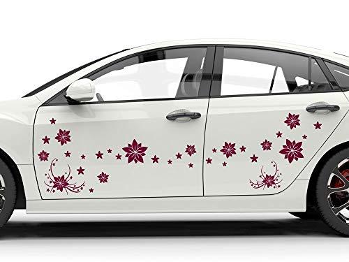 GRAZDesign Autofolie Blüten - Heckscheibenaufkleber als Set in vielen Größen - Autoaufkleber Auto komplett überkleben / 57x57cm / 599 pastelltürkis