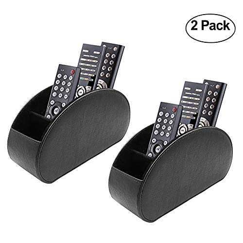 Fosinz Remote Control Holder Organizer Table Desk Leather Control Storage TV Remote Control Organizer with 5 Spacious Compartments (Black 2 Pack)