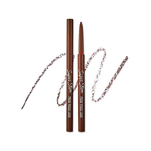 ETUDE HOUSE Super Slim Proof Pencil Liner (#02 Brown) | Long-Lasting and Waterproof Eyeliner with Fine Elaborate Lines for More Precise Eye Makeup