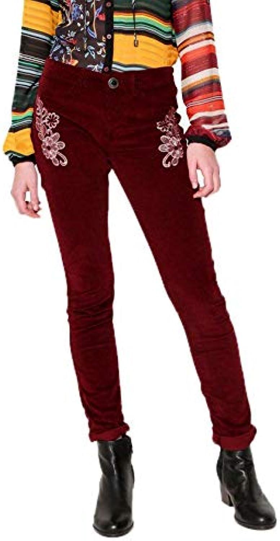 DESIGUAL Women's 17WWPN26PANA Burgundy Cotton Pants