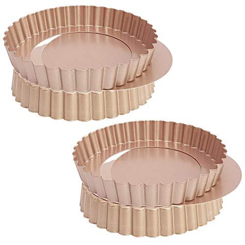 BESTZY Quiche Tart Pan, Moldes para Quiche o Tartas de Clasico con Fondo Extraíble Envase Antiadherente para Quiche, 4 Piezas (4 Pulgadas)