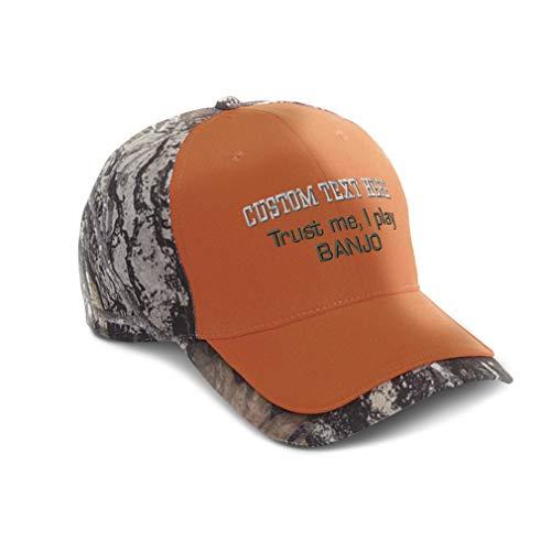 Custom Camo Baseball Cap Trust Me I Play Banjo Embroidery Cotton Hats for Men & Women Strap Closure Orange Personalized Text Here