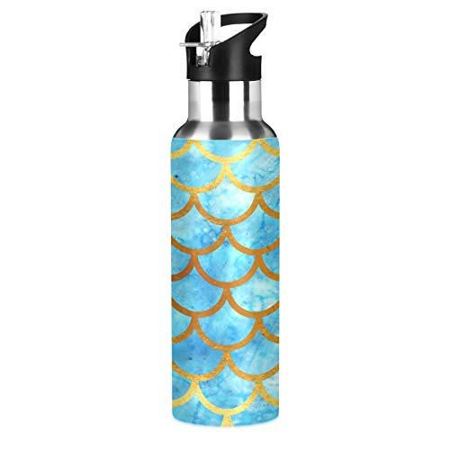 Lihuaval - Botella de agua de acero inoxidable con aislamiento al vacío, doble pared con pajita, para deportes al aire libre, fitness, gimnasio, 600 ml