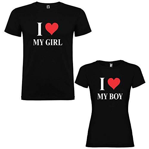 Pack de 2 Camisetas Negras para Parejas,...
