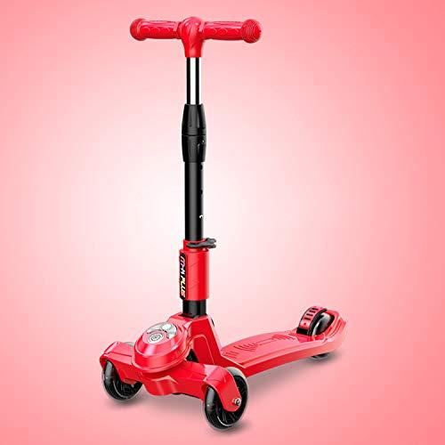 Scooter Infantil De Tres Ruedas. Patineta Carro De Equilibrio Destello Plegado con Un Clic Ajuste De Cuatro Velocidades Diseño De Crecimiento