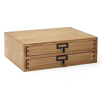Kirigen Drak Wooden Office Storage Drawers Shallow Type - Desktop Filing Organization for Machine Printer Stand  BR 2-Layer&2 Drawers