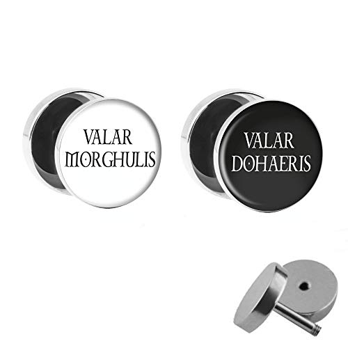 Treuheld | Set - Valar Morghulis & Valar Dohaeris - 2 Ohrstecker zum Schrauben mit Spruch - Weiße &...