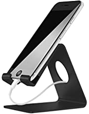 ELV Desktop Cell Phone Stand Tablet Stand, Aluminum Stand Holder for Mobile Phone (All Size) and Tablet (Up to 10.1 inch) - Black