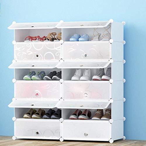 ZXL Meubel schoenenrek, schoenendoos, kunststof DIY stapelbaar stofdicht schoen opbergdoos solide en duurzaam heldere afdekking - eenvoudig op te bergen de schoenen wit (maat: 5 dieren)