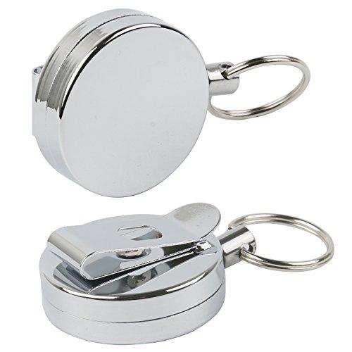 TRIXES Set mit Zwei runden silbernen 2,5cm Gürtelclips als Ausweis oder ID-Card Halter mit 60cm JoJo-Aufrollmechanismus Nylonschnur Silberchrom versenkbarer Schlüsselring Schlüsselanhänger