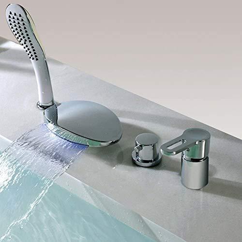 RGERG Badarmatur Mit LED Licht Wannenrandarmatur 4-Loch-Badewanne Wasserhahn Mit Handbrause Chrom Wasserfall Einhebel Badewannenarmatur