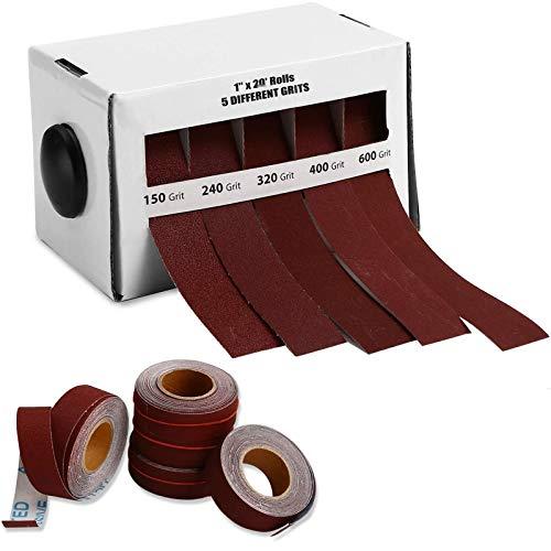 TSYFFF Emery Cloth Roll, 150/240/320/400/600 Korn Tuch Sandpapier, 5 * 6m Extraable Sandcloth Handriss Trockenschleifen für Metallglas Holzbearbeitungsschleifen & Polieren