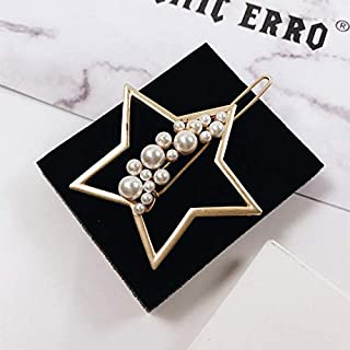 DIU New Fashion Imitation Hairpin Pearl Star Moon Shape Hair Clips Metal Gold Color Pearls Shiny For Hair Girls Accessorie...