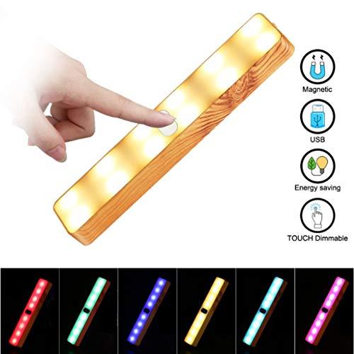 Veilleuses Barre lumineuse LED tactile en grain de bois coloré LED, placard de placard à ventouse sous armoires de cuisine, garage, bandes d'éclairage de nuit de nuit - Touch Control 7 couleurs Night
